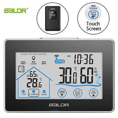 Baldr Wireless Weather Station Touch Indoor Outdoor Thermometer Hygrometer Clock