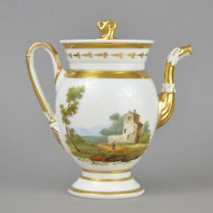 Miniature-cafetiere-Empire-en-porcelaine-de-Paris-a-decor-personnages-19eme
