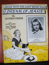 (I Dream of) Jeanie with the Light Brown Hair by Stephen Foster 1939 sheet music