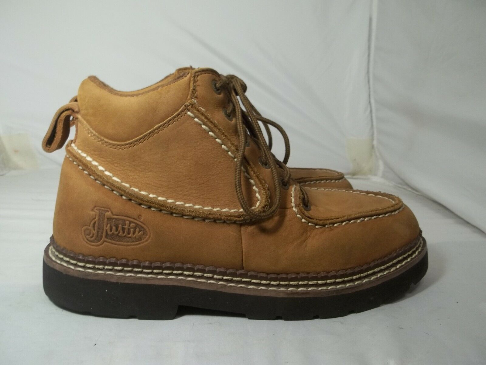 WOMEN'S JUSTIN SIZE 7 1 2 M LACE BROWN SUEDE LEATHER COMFORT BOOTS