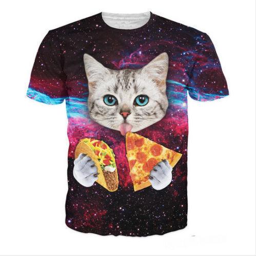 Women Men's Space Cat eating Tacos Pizza Top 3D Print Casual T-Shirt Cute SW61