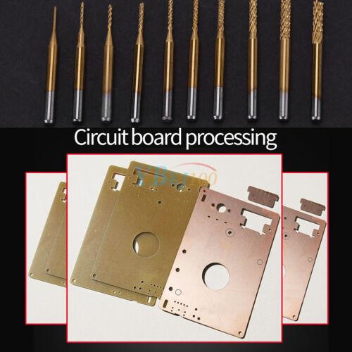 "10x 1//8/"" 0.8-3.175mm PCB Drill Bit Set Engraving Cutter Rotary CNC End Mill ark"
