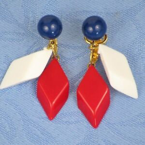 Details About Vintage Crown Trifari Clip On Earrings Red White Blue Plastic Diamonds Gold