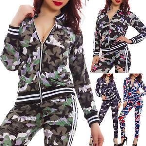 Tuta-donna-completo-fitness-sport-traforata-mimetica-giacca-zip-pantaloni-K5606