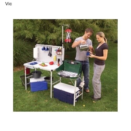 Coleman Kitchen Table Deluxe Camp Outdoor Portable Sink Prep Utility Portable