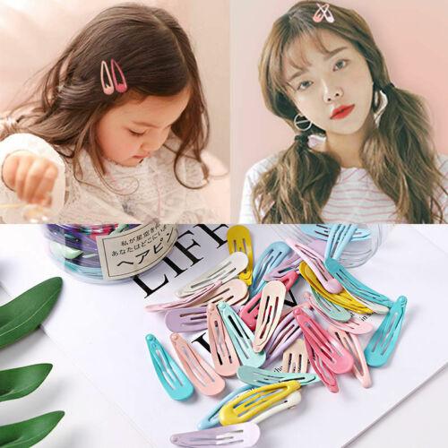 Details about  /20//30//40Pcs Women Girls Snap Hair Clips Metal Barrettes Multi-Color Hair Clip SP