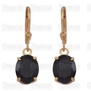 6-5ct-BLACK-SPINEL-dropper-EARRINGS-14K-GOLD-Sterling-Silver-925-UK-cut-oval