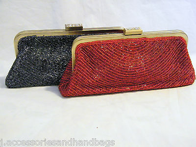 UK Womens Vintage Copper Frame Beaded Evening Prom Bag Party CLUTCH PURSE 6099