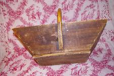 Rare antique French Wine Grape Harvest Basket wooden Wood Handle