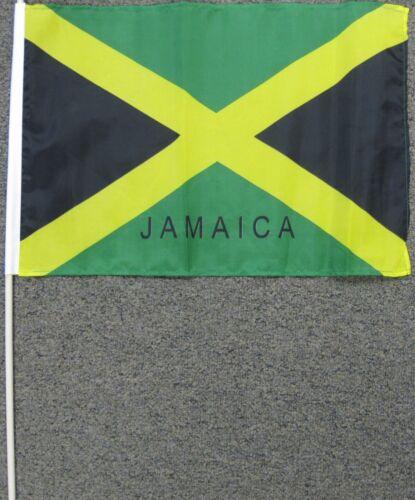 """JAMAICA FLAG 12X18 12/"""" X 18/"""" JAMAICAN WOOD STICK W15"""