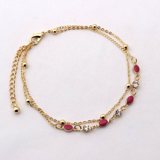 Anklet Ankle Bracelets Pink Oval 14K Gold Plated Two Layers Beautiful