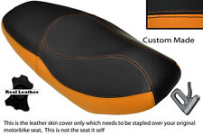 BLACK & ORANGE CUSTOM FITS SYM VS 125 LEATHER DUAL SEAT COVER