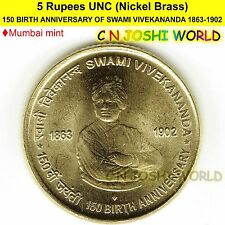 150 BIRTH ANNIVERSARY OF SWAMI VIVEKANANDA Nickel-Brass Rs 5 UNC (M)# 1 Coin