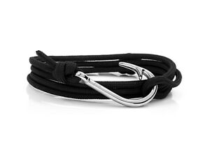 Image Is Loading Black Amp Silver Hook Bracelet Mens Rope