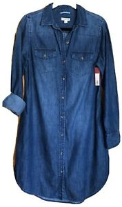 NWT-MERONA-Denim-Longsleeve-Button-Down-Shirt-Dress-Size-S