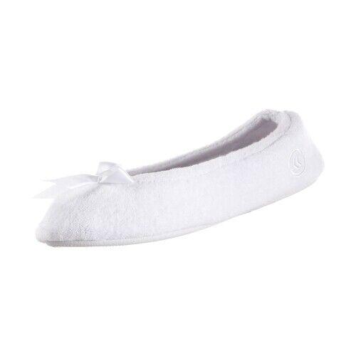Isotoner Terry Ballerina White w//stripe Medium 6.5-7.5
