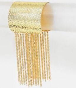 "4.75"" Wide Gold Metal Big Armor Chunky  Cuff Bracelet Metal Costume"