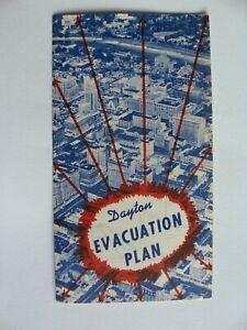 1956 Cold War Era Civil Defense Tri-fold Evacuation Plan for Dayton, Ohio