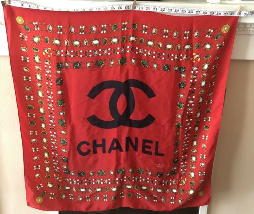 Chanel Silk Scarf! Red Chain Tagged! Vintage 80s o