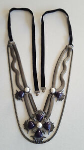 MIMCO-NECKLACE-SUPER-STATEMENT-LARGE-CROSS-TRIPLE-CHAINS-STUNNING-RARE-NEW