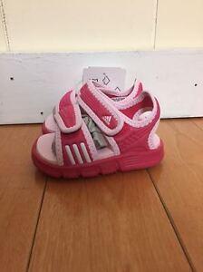 Adidas Sandals Slides Akwah 7 Pink White Baby Infant Td Sz