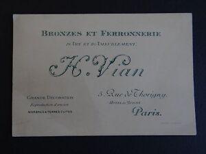 Ancienne Carte De Visite VIAN Bronze Ferronnerie D