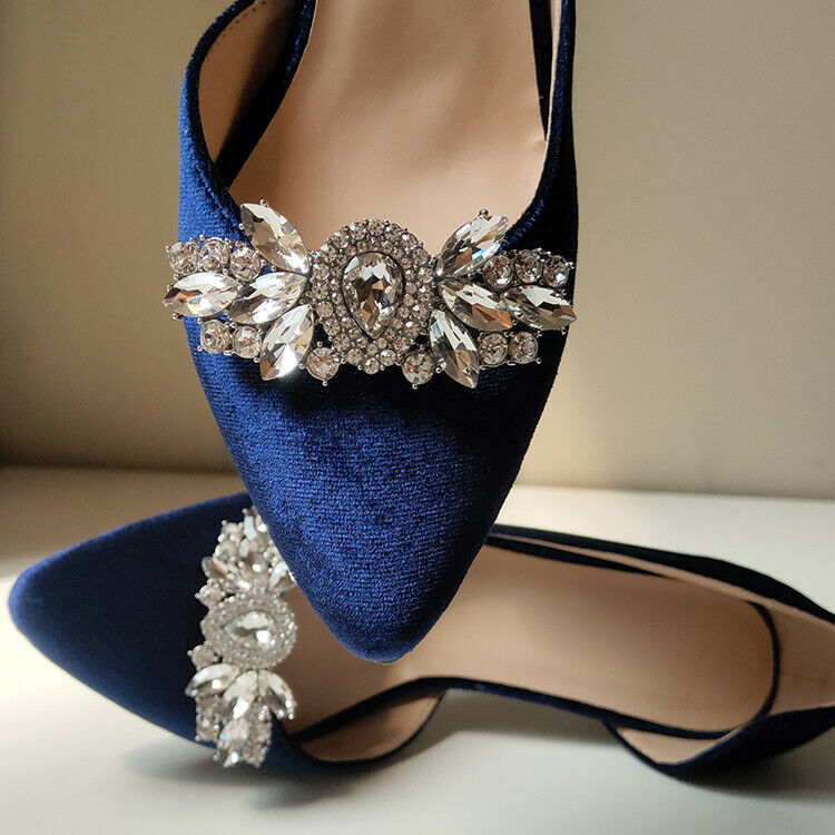 2 Pcs Vintage Style Metal Gold Silver Crystal Wedding Shoes Shoe Clips