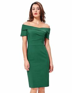 Vintage-Dark-Green-Short-Sleeve-Retro-Cocktail-Party-Dress-1950-039-s-Style-Size-4