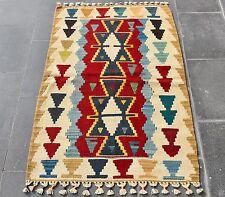 Small Size Wool Hand Woven Rug Vintage Turkish Oushak Multi Color Boho Kilim Rug