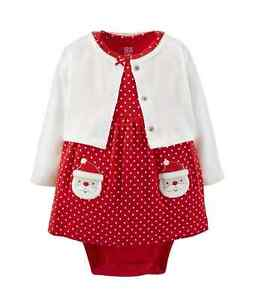 Newborn 3 6 9 months santa dress set baby girl clothes christmas red