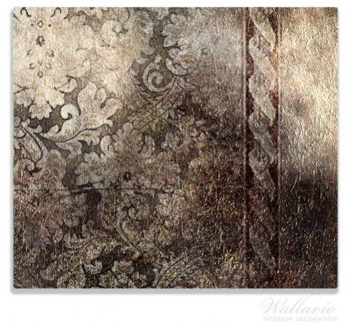 Schnörkelmuster dunkelbraun braune 60x52cm Herdabdeckplatte 1-teilig aus Glas