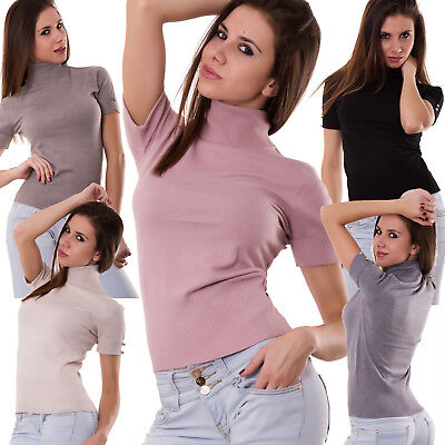 Pullover woman under jackets mock turtleneck polo neck buttons new R2113