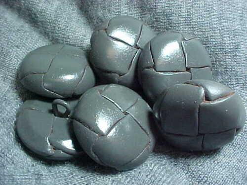 VINTAGE 6 gris dôme en cuir tressé moulé Boutons ligne 36 23 MM arrière