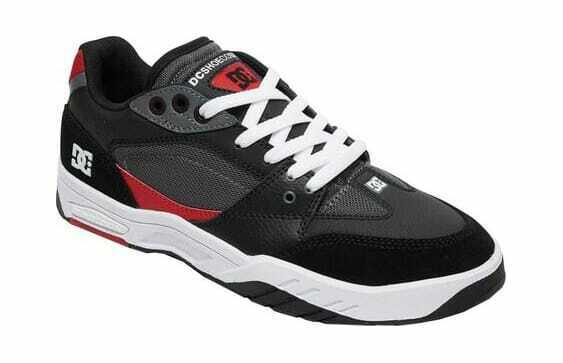 Hommes DC chaussures maswell baskets Noir Blanc Cuir Rouge