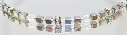 Cubo cubo collar hematites plata brillo cristal cristal diamantes de imitación de la cadena 053i