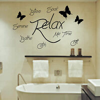 Soak Relax Bathe Wall Art Sticker Quote Bathroom Bubbles Toilet Splish Splash CC