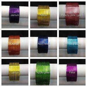 Indian-Bangles-12-psc-plain-Good-Quality-Gloss-Finish-Glass-Looking-Metal-Bangle