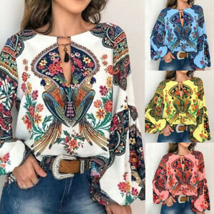 Women-Boho-Floral-V-Neck-Long-Lantern-Sleeve-Oversize-Blouse-T-Shirt-Tops-S-3XL