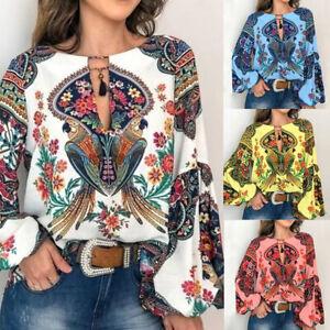 Women-Boho-Floral-V-Neck-Long-Lantern-Sleeve-Oversize-Blouse-T-Shirt-Tops-S-2XL