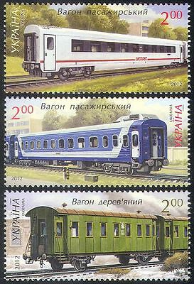 Ukraine 2012 Railway Carriages/Railways/Rail/Trains/Transport 3v set (n41644)