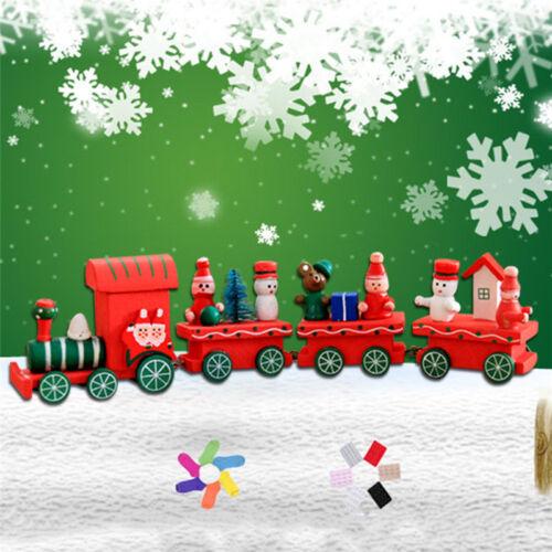 4Piece Wood Christmas Xmas Santa Claus Train Ornament Decoration Decor Gift Toy
