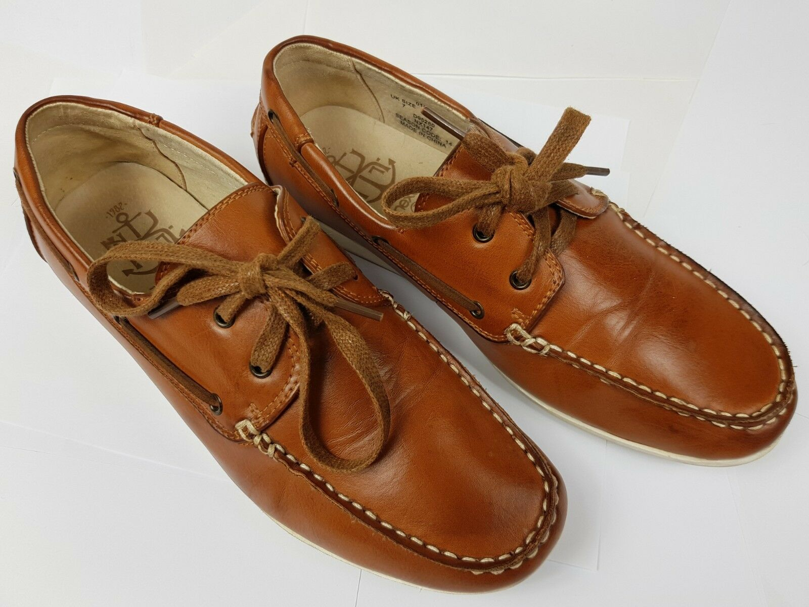 NEXT Leather Uppers Deck Brown Boat Shoes Brown Deck Pre-worn b2b7b6