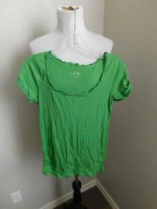 Ann Taylor Loft Size XS Green Scoop Neck Cap Sleeve Knit Top Shirt