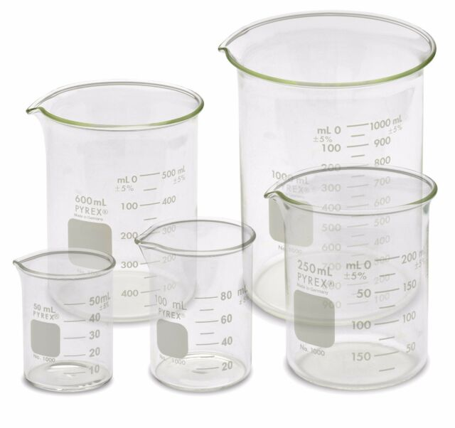Ackers Science A0001 Borosilicate Glass Low Form Glass Beaker 50//100//250//500//1000 mL Pack of 5