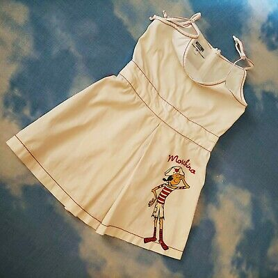 Realistico Dress Child Bambina Moschino Age 2-anni 86/92 Made In Italy Rare Lustro