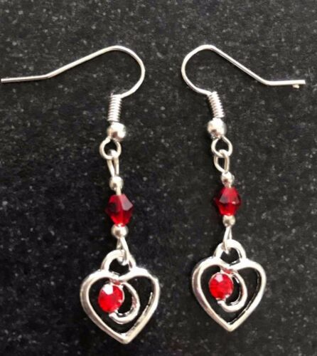 SILVER PLATED HEART DANGLE WITH RED CRYSTAL EARRINGS  New in Gift Bag