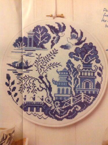 D China Blue Willow Pattern Plate Scene Cross Stitch Chart