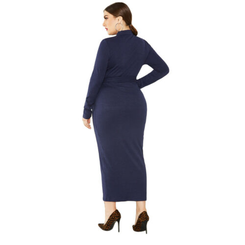Plus Size Women Knitted Long Sleeve Bodycon Dress Jumper Sweater Maxi Dresses