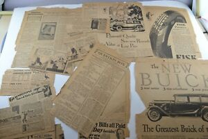 Vintage Newspaper Car Related Buick Classified Advertisements Old Paper Ephemera
