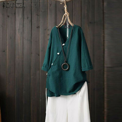 ZANZEA Women Cross V Neck Buttons Shirt Tops Ethnic Loose Asymmetrical Blouse